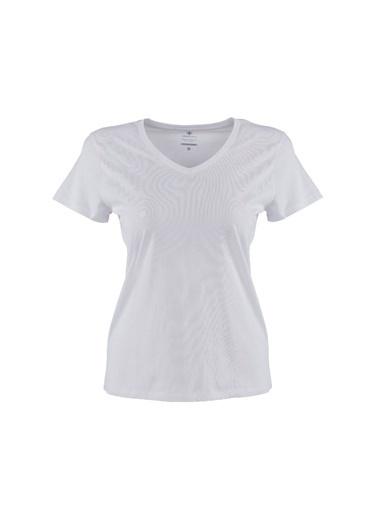 Lumberjack Ct132 Basic Modal V Neck Kadın Kısa Kol T-Shirt Beyaz